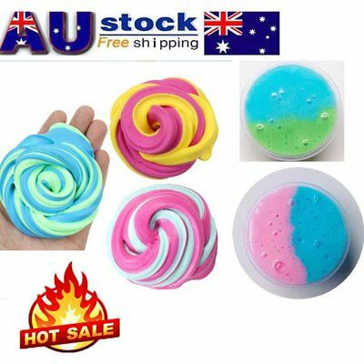Fluffy Floam Slime Double Color Craft Mud Toy No Borax Cotton Slime Clay OE