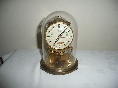Vintage Kundo Anniversary Clock in Glass Dome, Midget Movement. V G Cond