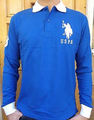 Men`s New Us Polo Assn Long Sleeve Polo Shirt Size L Blue Slim Fit Genuine Top