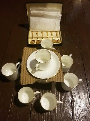 Crown Staffordshire TIFFANY & CO Gold Trim Flat Demitasse Cup & Saucer Set of 7