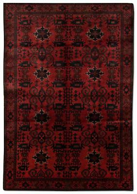 East Afghan Khal Mohammadi Rug 188 x 118 cm Red Hand Knotted