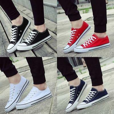 Men Women's Canvas Shoes Low Top Sneakers Comfy Lace Up Sports Casual Flats New