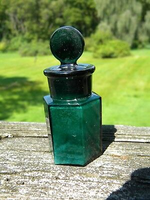 Antique Teal Green Smelling Salts Bottle six sided