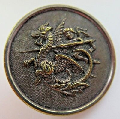 Exceptional X LARGE Antique Metal Picture BUTTON Dragon Slayer Mythology (V44)