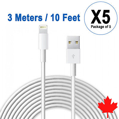 5x 10FT 3M USB Data Sync Charger Cable for iPhone X Xs Max Xr 8 8Plus 7 6s 6 SE