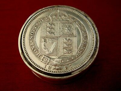 Solid Sterling Silver Hallmarked Coin Set 1887 Queen Victoria Snuff Pill Box
