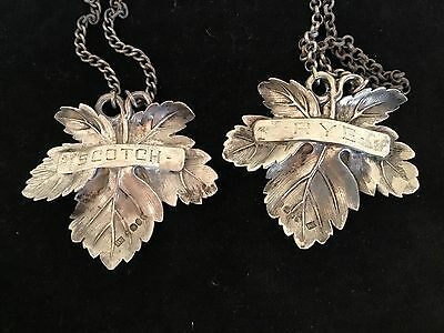 "antique pair sterling silver wine tag label 2.5"" Rye Scotch London 1809"