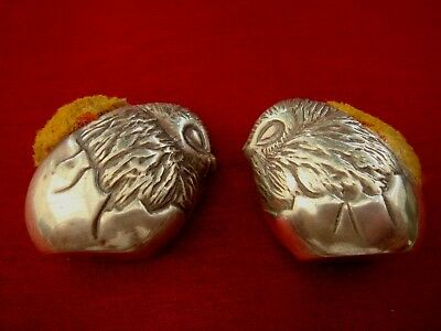 Two Solid Sterling Silver Hallmarked Easter Egg Chick Bird Pincushions