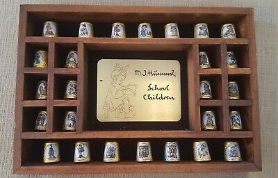 """HUMMEL """"SCHOOL CHILDREN"""" Collector Gold Plated THIMBLES Set 26 with STAND 1980s"""