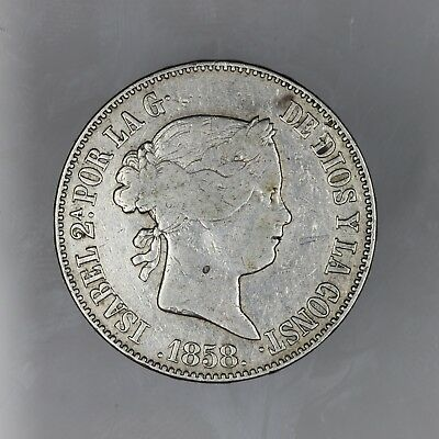 1858 SPAIN Isabel II Silver 10 Reales Coin