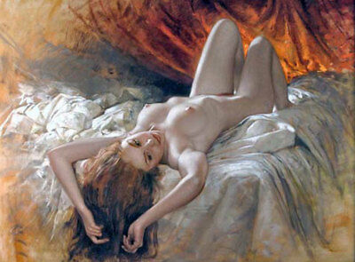 LMOP662 lie supine nude girl portrait on bed hand paint art oil painting canvas