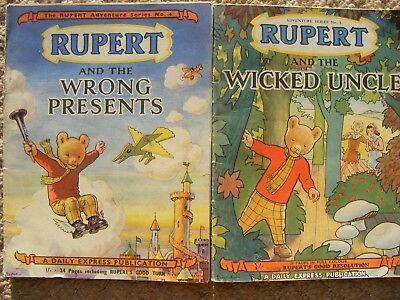 vintage original 1940s rupert adventures series books no.4 and no.8