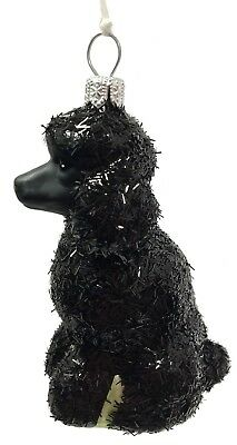 Black Glittered Poodle Dog Polish Glass Christmas Ornament Pet Animal Decoration