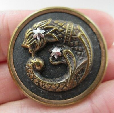 Superb LARGE Antique Metal Picture BUTTON Fish Creature Cut Steel STARS (V9)