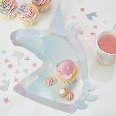 3c9bf9943cac2 Ginger Ray Iridescent Unicorn Party Shaped Paper Plates - 8 Pack - Make A  Wish
