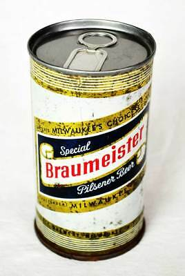 """Rare Braumeister 1963? Steel Beer Can With Transitional Very Early Al """"pull Tab"""""""