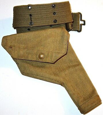 WWII US Canvas ZL & T GUN HOLSTER Dated 1941 with BELT~LOT #5! NR!