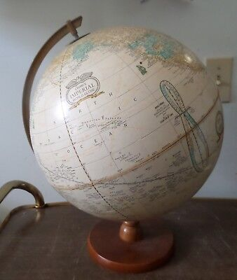 Vintage Cram's Imperial World Globe With Wood Base George F. Cram Made In USA