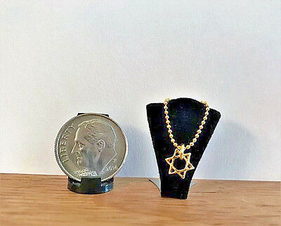 Dollhouse Miniature Jewelry - 1:12 - Star of David - Gold Metal Ball Chain