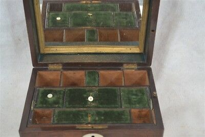 sewing jewelry box secret drawer mirror wooden mop compartments 1800 antique