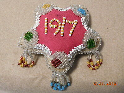 Antique 1917 Assorted Colored Beaded Star Pattern Pin Cushion