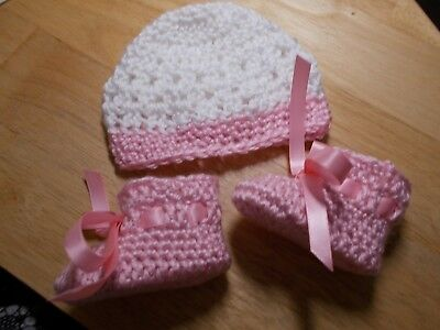 Handmade Crochet baby booties,hat, Preemie, 0-3 & 3-6 mo by Rocky Mountain Marty
