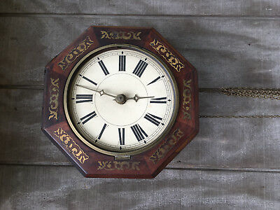 Antique Weight Driven Wall Clock w Wood Movement Brass Accents Parts Repair ML44