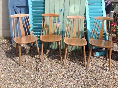 Vintage 1960's Dining Chairs By Radomsko Set Of Four Danish Inspired Retro Chic