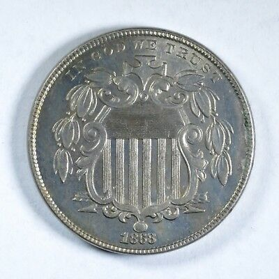 ERROR Uncirculated 1868 5C Shield Nickel ~ Without Rays Variety