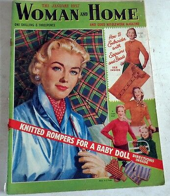 Jan 1957  Woman & Home Magazine: Knitting Fiction Fashions: Post  Discount