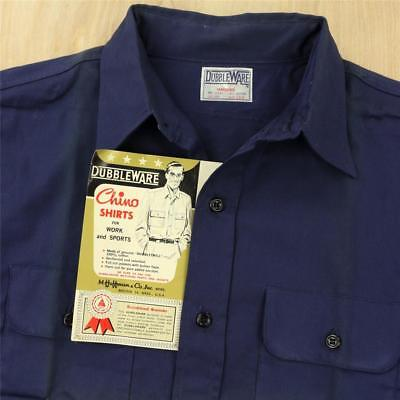 vtg 50s 60s DUBBLEWAREW work utility shirt 16.5 / L mechanic blue distressed nos