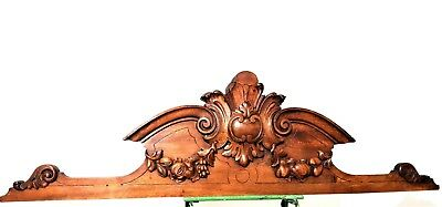 Architectural bow fruit pediment Antique french carved wood salvaged furniture