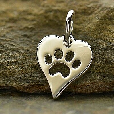 .925 Sterling Silver miniature PAW PRINT Heart Charm Cat Dog Pet Charms Memorial