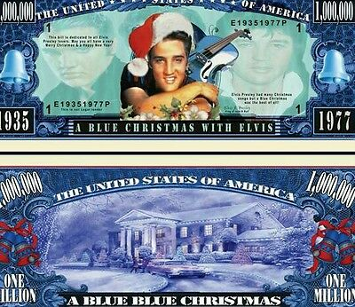 Elvis Blue Christmas Novelty Dollar with Semi Rigid Protector and Free shipping