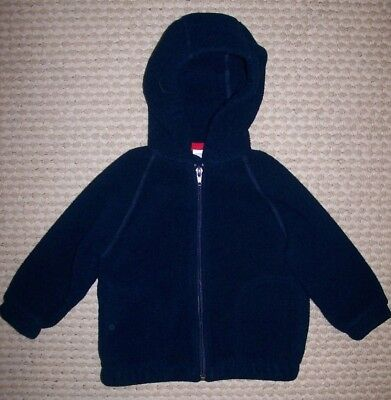 Lands' End Toddler Boy/girl Navy Blue Hooded Plush Fleece Zip Jacket 2T Euc