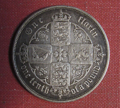 1853 Uk Florin - Cleaned Example, Roman Numeral Date, Please View