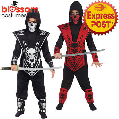 CK1275 Skull Lord Ninja Boys Costume Japanese Fighter Warrior Martial Book Week