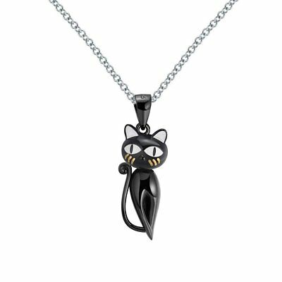 dc035cb25 Ginger Lyne Collection Ginny Cat Kitty Kitten Pendant Black Over Sterling.