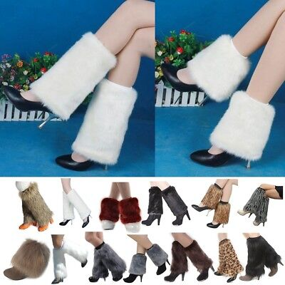 Women Fluffy Newest Faux Fur Leg Warmers Winter Boots Toppers Costume Cosplay US