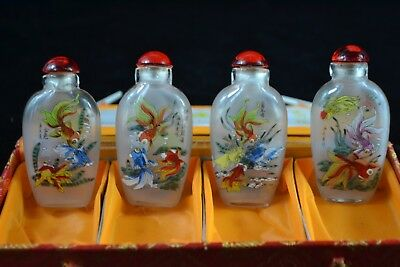 Rare Collectible Chinese glass Handwork inside wealthy fish set 4 Snuff Bottle