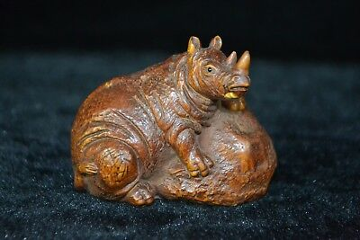 Ancient Rare Collectible Chinese Old boxwood Handwork rhinoceros noble Statue