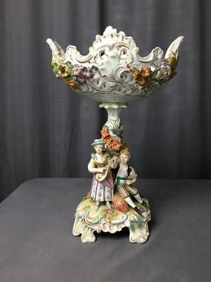 Rare AntQ Dresden Carl Thieme Figural Reticulated Compote Signed  Ca 1870's