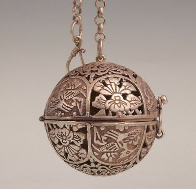 Antique Tibetan Silver Pendant Old Ball Incense Burner Hollowed-Out Flowers