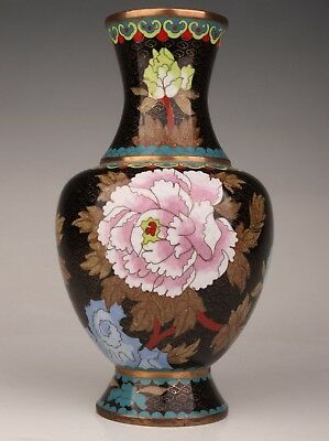 Old Hand-Made Decoration Antique Enamel Cloisonne Vase Only One Flowers Bird