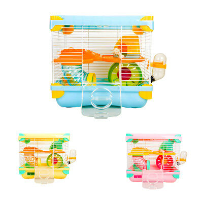Alice Design-Deluxe 2 Tiers Hamster Cage with Wheel Bowl Bottle Tunnel House