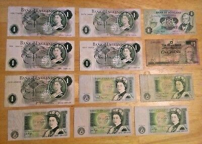 £12 in £1 Notes Bank of England British UK Great Britain Scotland Pounds
