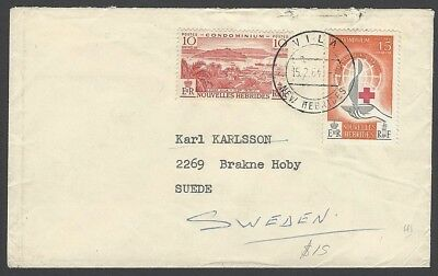 New Hebrides French Currency 1963 Red Cross 15c & 1957 10c on cover to Sweden