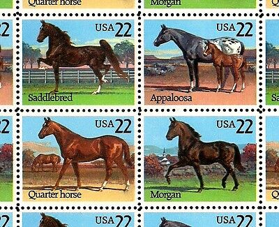 1985 - AMERICAN HORSES - #2155-58 Full Mint -MNH- Sheet of 40 Postage Stamps