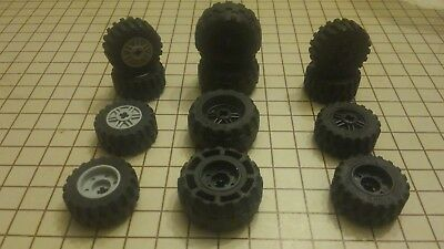 LEGO Lot of 4 Sets of Medium Tires with Yellow Hubs