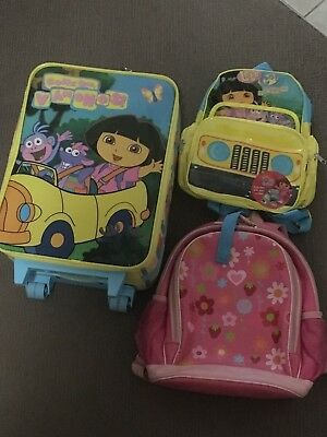 Girls Dora the Explorer Luggage set - EUC!!!
